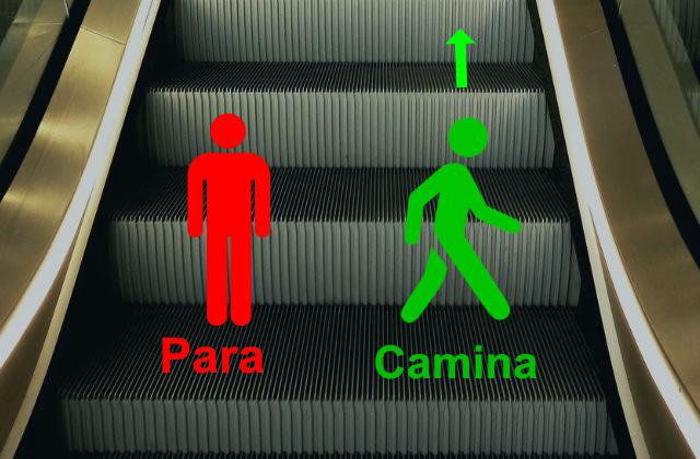 Dibujos mostrando cuando parar y subir en las escaleras eléctricas usando buenos modales en Australia