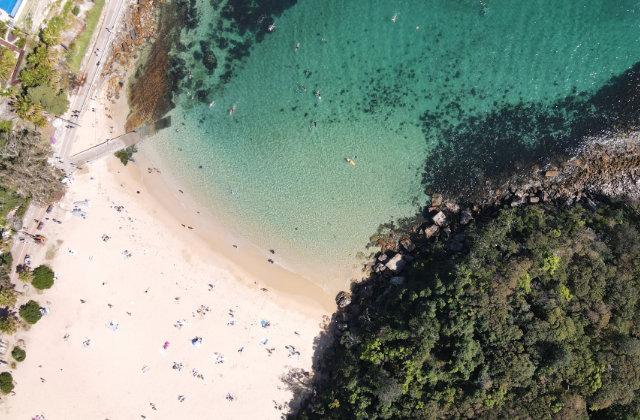 Vista aérea de la Playa Shelly en Manly