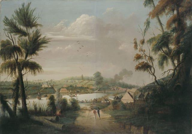 Pintura que muestra la ciudad de Sydney en el año de 1794